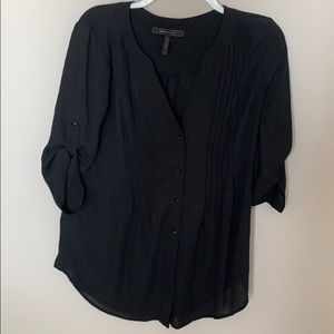 BCBCMaxazria pleated button up blouse